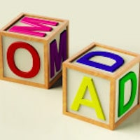 Kids Wooden Blocks Spelling Mom and Dad as Symbol for Parenthood