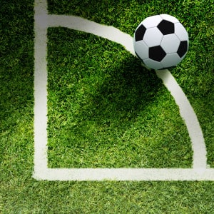 Soccer Ball on Grass and Line